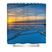 Pierhead Polar Vortex Sunrise Shower Curtain