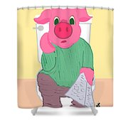 Pig On The Hopper Shower Curtain