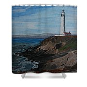 Pigeon Lighthouse Daytime Titrad Shower Curtain