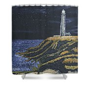 Pigeon Lighthouse Night Scumbling Complementary Colors Shower Curtain
