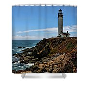 Pigeon Point Lighthouse Vertical Shower Curtain
