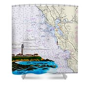 Pigeon Point Lighthouse On Noaa Nautical Chart Shower Curtain