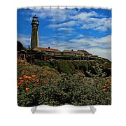 Pigeon Point Lighthouse Painted Shower Curtain