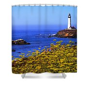 Pigeon Point Lighthouse Panoramic Shower Curtain