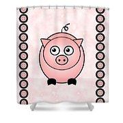 Piggy - Animals - Art For Kids Shower Curtain