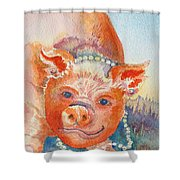 Piggy In Pearls Shower Curtain