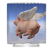 Pigs Fly 2 Shower Curtain by Mike McGlothlen