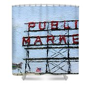 Pike Place Market Shower Curtain by Linda Woods