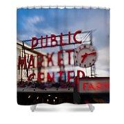 Pike Place Public Market Neon Sign Shower Curtain