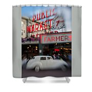 Pike Place Publice Market Neon Sign And Limo Shower Curtain