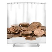 Pile Of American Pennies On White Background Shower Curtain
