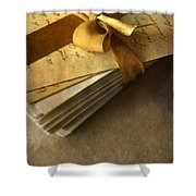 Pile Of Letters With Golden Ribbon Shower Curtain
