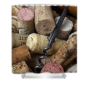 Pile Of Wine Corks With Corkscrew Shower Curtain