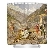 Pilgrims At Gangootree, From India Shower Curtain