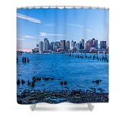 Pilings On Boston Harbor Shower Curtain
