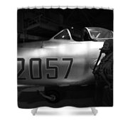 Pilot And His Airplane In The Hangar Shower Curtain