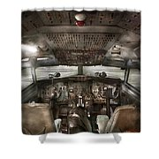 Pilot - Boeing 707  - Cockpit - We Need A Pilot Or Two Shower Curtain by Mike Savad