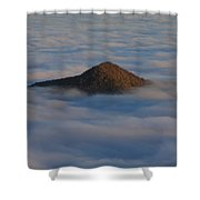 Pilot Mountain Shrouded In Fog-blue Ridge Parkway Shower Curtain