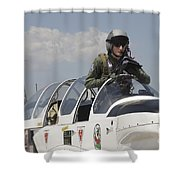 Pilot Standing In  A Socata Tb-30 Shower Curtain