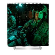 Pilots Sitting In The Cockpit Shower Curtain