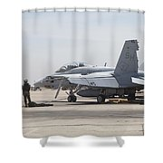 Pilots Wait To Board Their Fa-18b Shower Curtain
