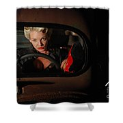 Pin Up Girl In A Classic Rat Rod Car Shower Curtain