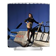 Pin-up Girl Standing On The Wing Shower Curtain by Christian Kieffer