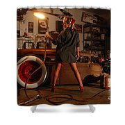 Pin Up Girl With Blow Torch Shower Curtain