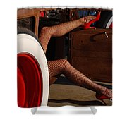 Pin Up Legs In Red Heels  Shower Curtain