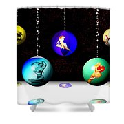Pin Up Ornaments Shower Curtain