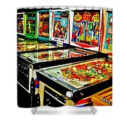 Pinball Alley Shower Curtain by Benjamin Yeager