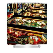 Pinball Arcade Shower Curtain by Benjamin Yeager