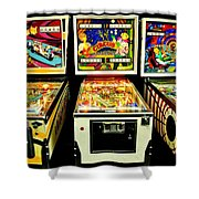 Pinball Past Time Shower Curtain