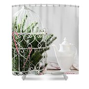 Pine Branches Birdcage Shower Curtain