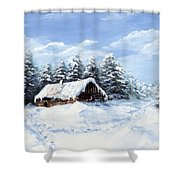 Pine Forest In Winter Shower Curtain