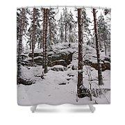 Pine Forest Winter Shower Curtain