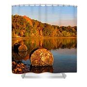 Pine Lake Reflection 3 Shower Curtain