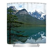 Pine Over Emerald Lake Reflection In Yoho National Park-british Columbia-canada Shower Curtain
