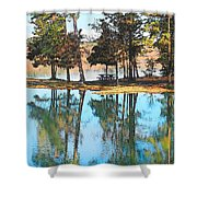 Pine Tree Water Reflections Shower Curtain