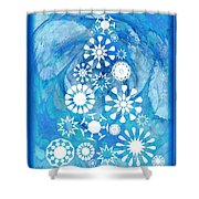 Pine Tree Snowflakes - Baby Blue Shower Curtain