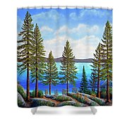 Pine Woods Lake Tahoe Shower Curtain