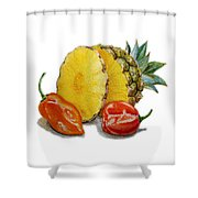 Pineapple And Habanero Peppers  Shower Curtain