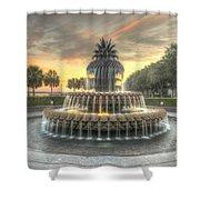 Pineapple Fountain Sunset Shower Curtain