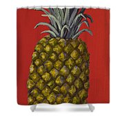 Pineapple On Red Shower Curtain