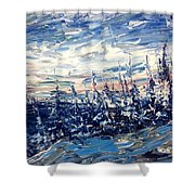 Pines In Winter Blues Abstract Shower Curtain