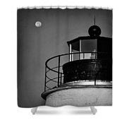 Piney Point Lighthouse And Moon In Black And White Shower Curtain