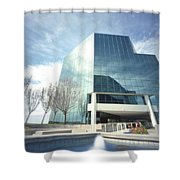 Pinhole Office Building Shower Curtain