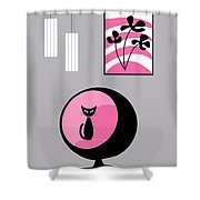 Pink 3 On Gray Shower Curtain