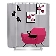 Pink 4 On Gray Shower Curtain