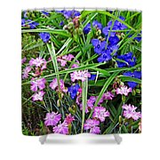 Pink And Blue Garden Shower Curtain